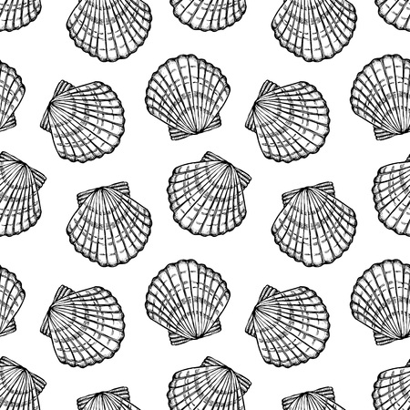 seashells, monochrome seamless vector pattern Stock Illustratie