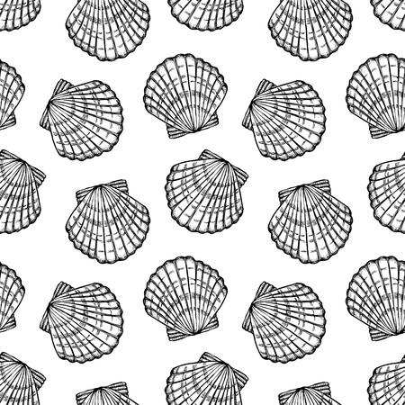seashells, monochrome seamless vector pattern Illustration