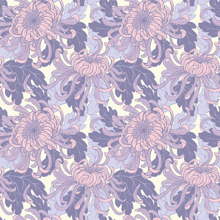 Chrysanthemum flowers and leaves, seamless vector pattern Standard-Bild - 124993629