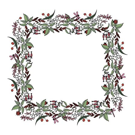 square frame of wild plants and flowers  in Doodle style  vector illustration Ilustracja