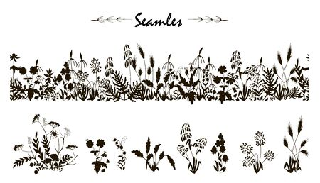 wild flowers and leaves black silhouette, seamless brush, a wreath and some plants, vector illustration on white background