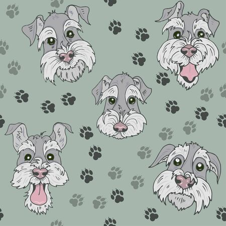 Pattern with Scottish Terrier  dogs, funny, sad, curious and offended faces of Terriers on a green background with traces of dog paws, seamless vector illustration Ilustracja