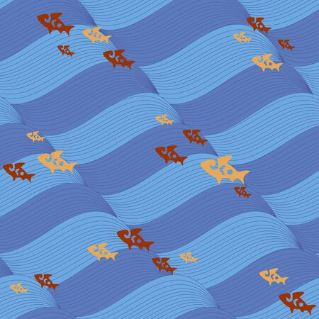Sea waves and colorful fish, seamless vector background Ilustracja