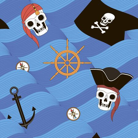 Pirates, sea waves and pirate attributes, vector seamless background