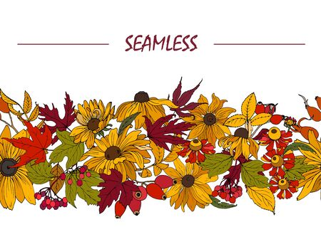Autumn flowers, leaves and berries, seamless vector pattern Ilustracja