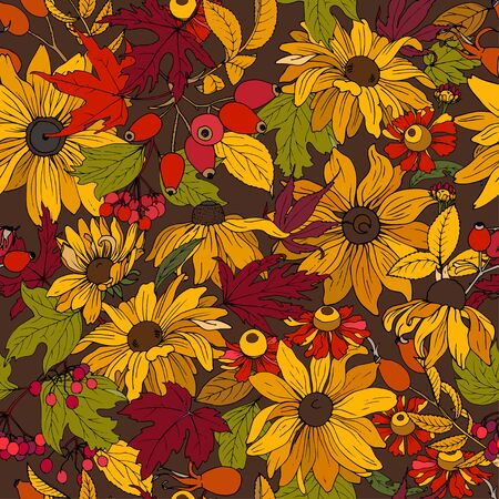 Autumn flowers, leaves and berries, seamless vector background