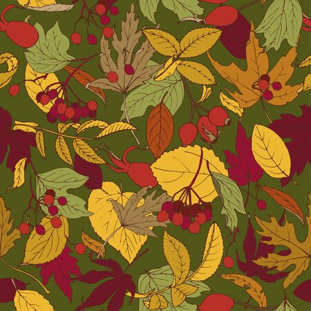 Autumn leaves and berries, seamless vector background