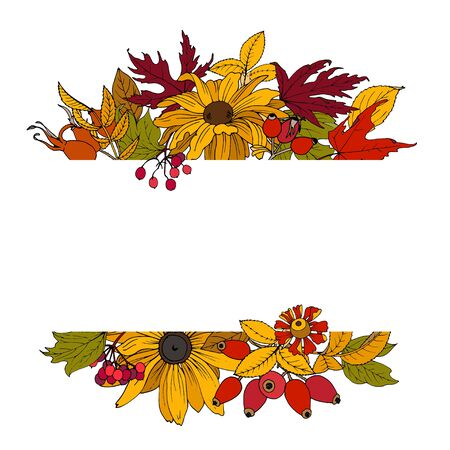 Autumn background, pattern for designers with autumn leaves and flowers, rose hips and viburnum berries, vector illustration