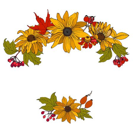 Composition of autumn flowers, leaves and berries of rosehip, vector illustration on white background