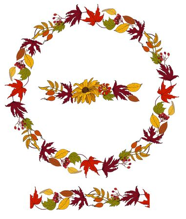 Wreath of autumn flowers, leaves and berries and vector seamless pattern of autumn plants Ilustracja