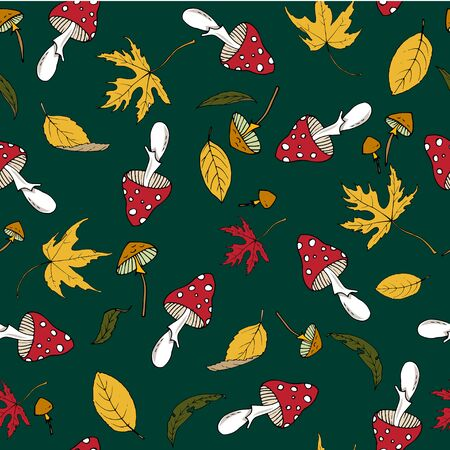 Autumn leaves and fly agarics, seamless vector background