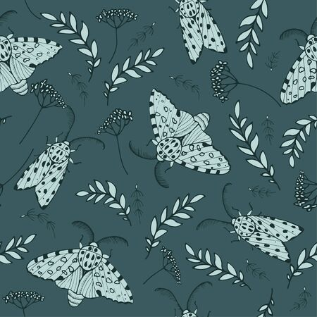 Night moths in meadow grass, seamless vector background