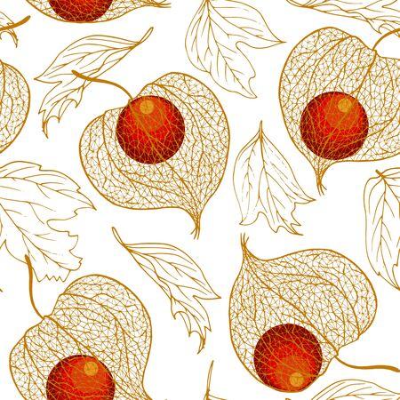 Physalis-Frucht und Herbstblätter, nahtlose Vektorillustration