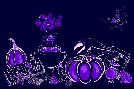 Halloween, cauldron with magic potion, ingredients and tools, pumpkins,  crows, vector illustration