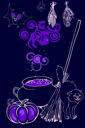 Halloween, cauldron with magic potion, ingredients and tools, pumpkins,  cat, vector illustration Ilustracja
