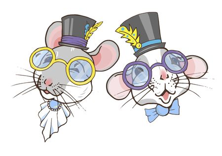 Rats, symbol of the year 2020 according to the Chinese calendar, portraits of rats in top hats and glasses, vector illustration Ilustracja