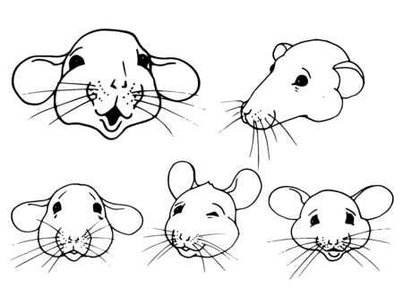 Rats, symbol of the year 2020 according to the Chinese calendar, portraits of rats with different variants of emotions, vector illustration