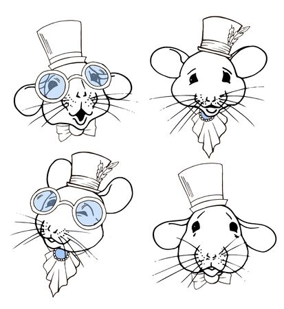 Rats, symbol of the year 2020 according to the Chinese calendar, portraits of rats in top hats and glasses, vector illustration Ilustrace