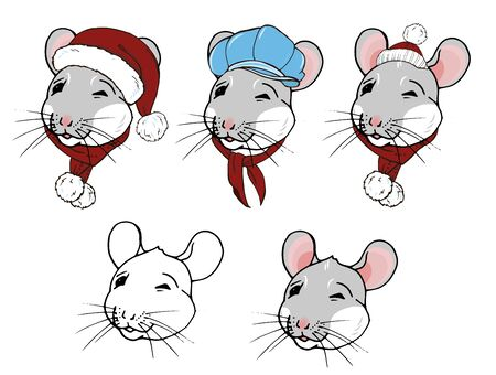 Rats, symbol of the year 2020 according to the Chinese calendar, portraits of rats in winter clothes, hats and scarves, vector illustration Ilustracja