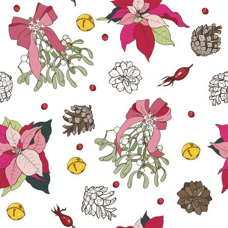 Christmas plants, winter flora, poinsettia and mistletoe, pine cones and rose hips, seamless vector illustration Stock Illustratie