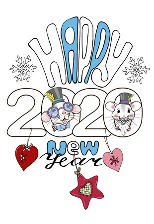 Happy new year 2020 inscription and rats in fancy dress, greeting template, poster, postcard, vector illustration Ilustracja