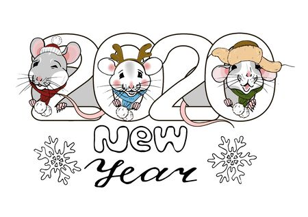 new year 2020 inscription and rats in Christmas costumes, greeting template, poster, postcard, vector illustration