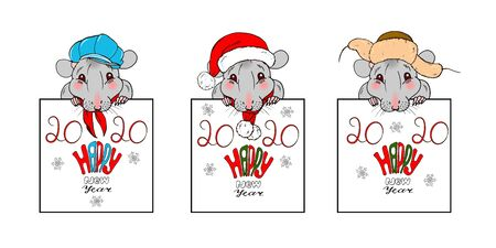 Happy new year 2020 inscription and rats in Christmas costumes, greeting template, poster, postcard, vector illustration Ilustracja