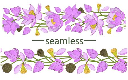 Pink Lotus flowers and buds, seamless vector brush