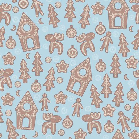 Gingerbread in the form of houses, Christmas trees, deer, men and Christmas toys, seamless vector pattern