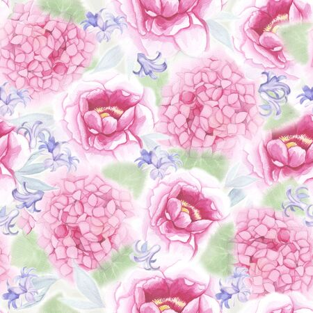 pink peony and hydrangea flowers and blue bluebells on white background, seamless illustration