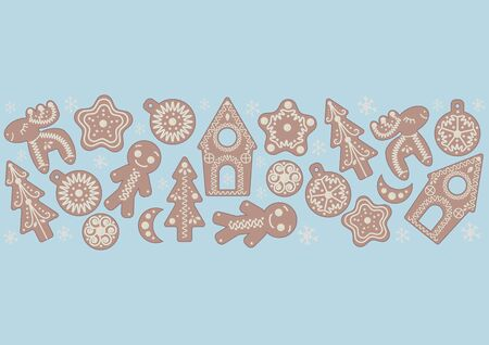 Christmas gingerbread cookies on blue background Christmas vector illustration