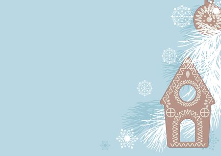 Christmas gingerbread cookies, fir branches and snowflakes on a blue background, vector illustration Ilustracja