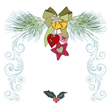 Christmas toys and pine branches, Christmas design template, vector illustration