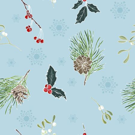 winter plants and snowflakes on blue background, seamless vector illustration