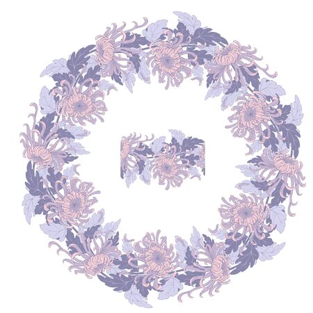 Wreath of pink chrysanthemums and seamless vector brush Ilustracja