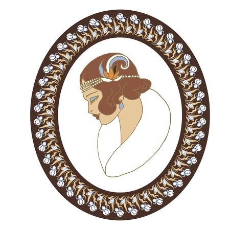 Portrait of a girl dressed in the style of the 20s in a frame with irises, vector illustration Ilustracja