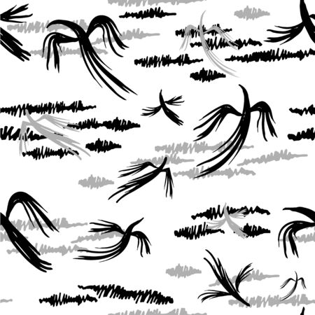 Black and white background with stylized clouds and birds, seamless vector illustration Ilustracja