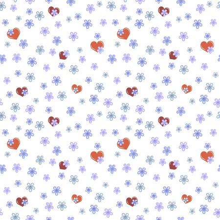 hearts and forget-me-not flowers on white background, seamless vector illustration