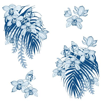 Blue orchids and tropical leaves, compositions for design, vector illustration Ilustracja