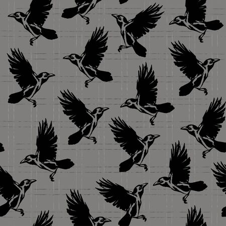 crows silhouettes on a grey checkered background, seamless vector illustration