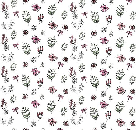 herbs and pink flowers on a white background, seamless vector illustration