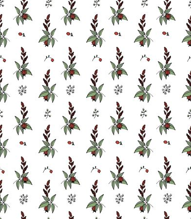 pattern of grass and ladybirds on a white background, seamless vector  illustration Vectores