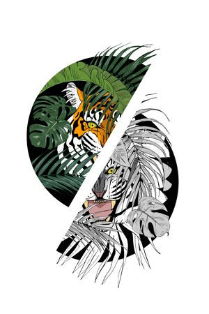 Tiger in the jungle, predator among the leaves lurking, print for clothing design, vector illustration Иллюстрация
