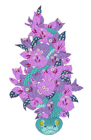snake in a thicket of pink tropical flowers, vector illustration on a white background Illustration