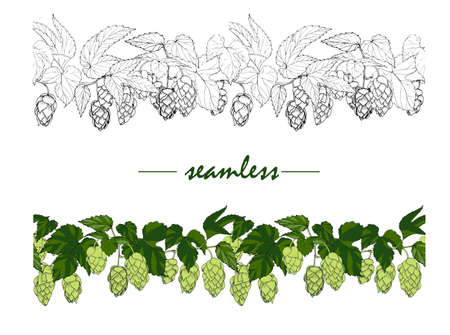 leaves and cones of hop, hops ingredient for making beer, seamless ornament