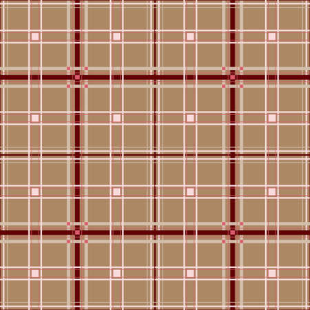 Checkered seamless pattern, stripes of beige, Burgundy and pink on a beige background. Harmonious interweaving of thin and wide stripes, vector illustration Illustration