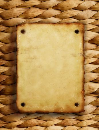 old paper on brown wicker texture with natural patterns Stock Photo - 3829885