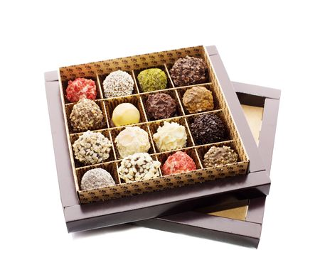 colour box: Opened box of sweets