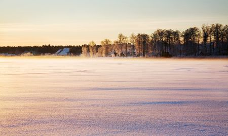Sunrise in the winter photo