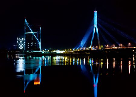 City (Riga) in the night on the feast Staro Riga photo